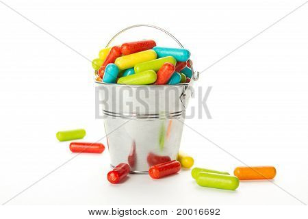 Colored candy in the bucket