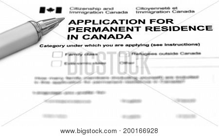 Visa application form filling with silver ballpoint