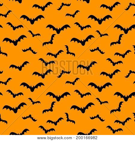 Seamless pattern orange background with black endless bat on halloween festive Vector illustration