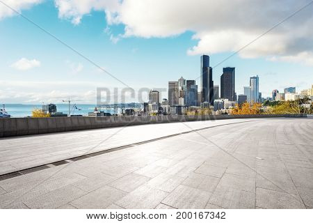 cityscape of los angeles from empty footpath