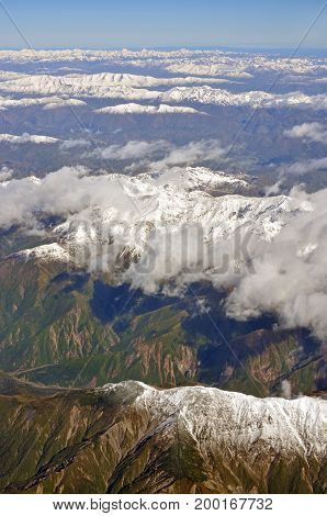 Kaikoura Mountains in Spring Aerial Morning View North Canterbury New Zealand