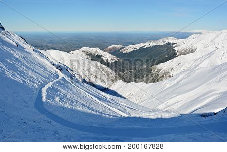 Mount Hutt Ski Field & Canterbury Plains Super Panorama in the Southern Alps of New Zealand.