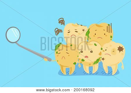 cartoon tooth decay on the blue background