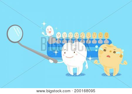 cute cartoon tooth with whitening tool on the blue background