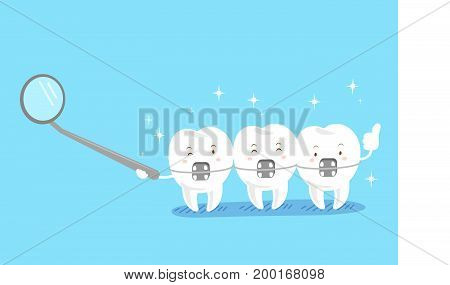 cute cartoon tooth wear brace on the blue background