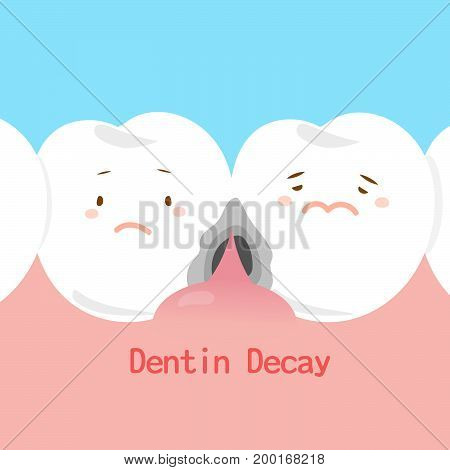 tooth with dentin decay on the blue background