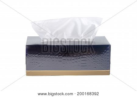 black tissue box isolated on white background. An image of a napkins in a box