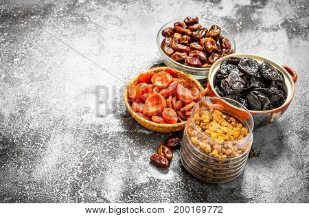 Various Dried Fruit In Bowls.