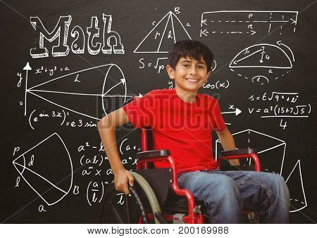 Digital composite of Disabled boy in wheelchair in front of blackboard with math equations