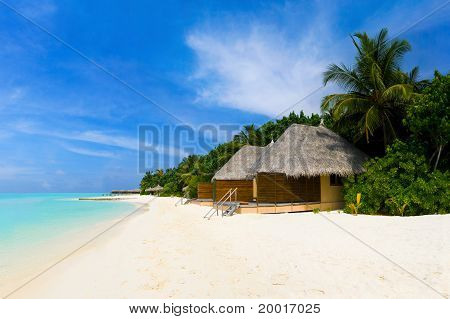 Tropical Beach And Bungalows