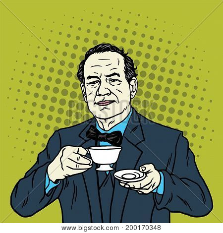 Man Drinking a Cup of Tea. Coffee Break. Vector Pop Art Illustration
