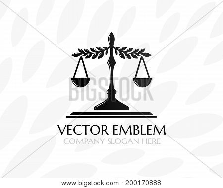 Balance with leaves. Law firm logo template. Concept for legal firms notary offices or justice companies