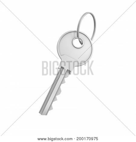 3d rendering of a single silver key for a pin tumbler lock isolated on white background. Lock and key. Safety and protection. Security and insurance.