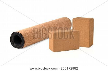 Yoga Cork Mat and Blocks Premium and Eco Friendly on White Background