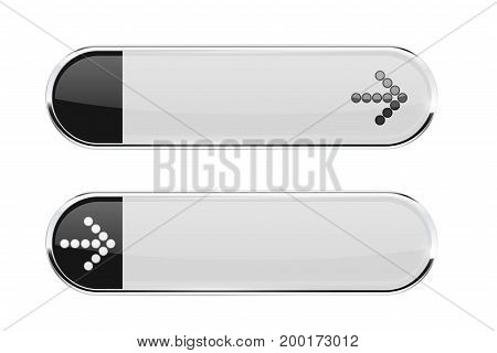 White buttons with black tags and ARROW sign. Menu interface elements with metal frame. Vector 3d illustration isolated on white background