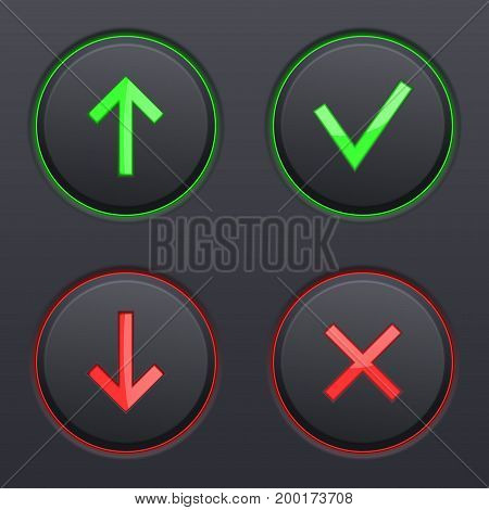Set on black buttons. Up and down arrows, cancel and submit signs. Vector 3d illustration