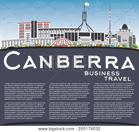 Canberra Skyline with Gray Buildings, Blue Sky and Copy Space. Business Travel and Tourism Concept with Modern Architecture. Image for Presentation Banner Placard and Web Site.