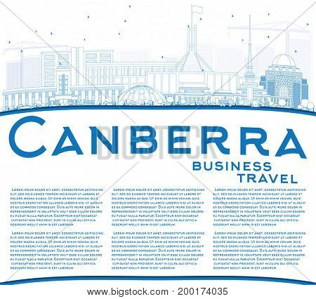 Outline Canberra Skyline with Blue Buildings and Copy Space. Business Travel and Tourism Concept with Modern Architecture. Image for Presentation Banner Placard and Web Site.