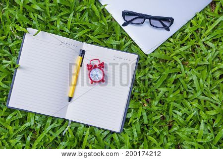 Outdoor workplace and business equipment concept., Education