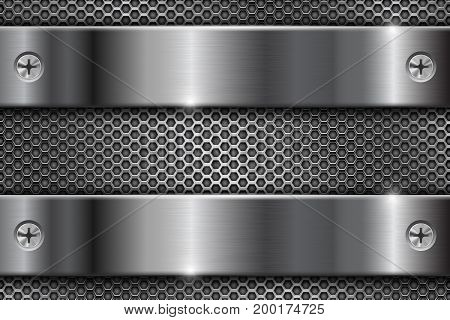 Metal perforated background with chrome brushed stripes with screws. Vector 3d illustration