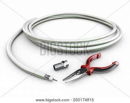 Wire Tv Cable With Plug And Pliers, 3D Illustration