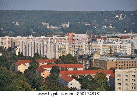 Dresden, Germany - September 2014: View to old communistic Plattenbau houses of former Eastern Germany in September 2014