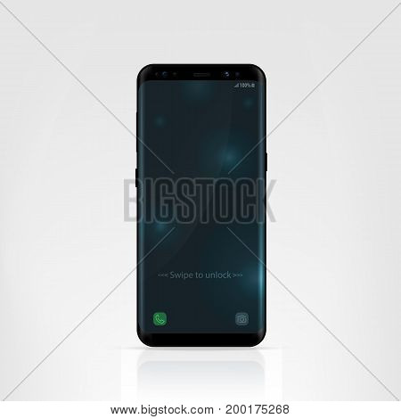 Smartphone design concept. Realistic vector illustration. Black smart phone isolated