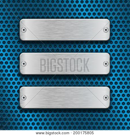 Blue metal perforated background with chrome rectangle plates. Vector 3d illustration