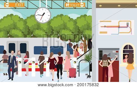 train station busy scene people in rush waiting in gate urban commuter buy ticket vector