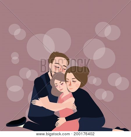family hug care father mother to their daughter forgiveness depression sadness compassion loss and despair vector