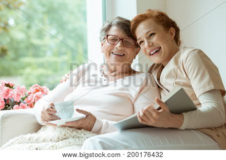 Grandma Laughing With Her Granddaughter