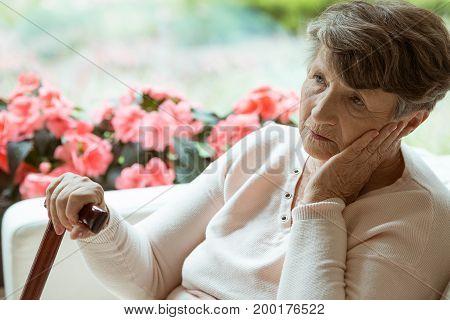Elder Lady Worrying