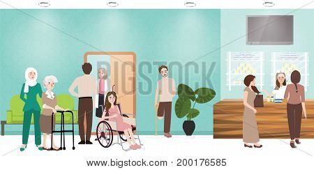 hospital waiting room clinic lobby reception and pharmacy illustration of people nurse waiting working situation activities vector