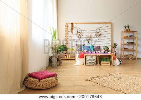 Bedroom With Ethnic Bed Decoration