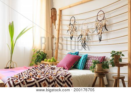 Bed With Bedhead With Dreamcatchers