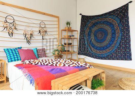 Multicolor Bedroom With Ethnic Design