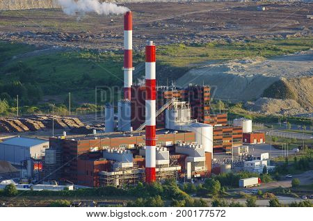 Energy power plant exterior view with building structures