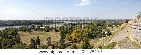 BELGRADE, SERBIA - JULY 31, 2017:Panoramic view of the Danube and Belgrade from the height of the Belgrade Fortress Serbia.