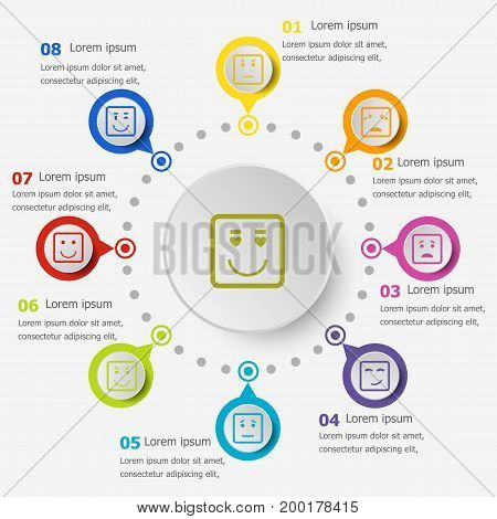 Infographic template with square face icons, stock vector