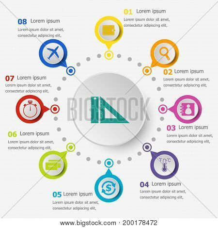 Infographic template with application icons set 2, stock vector