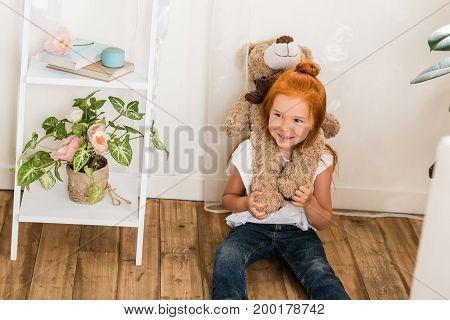 Adorable Little Girl With Teddy Bear
