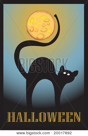 Halloween black cat and moon with background poster