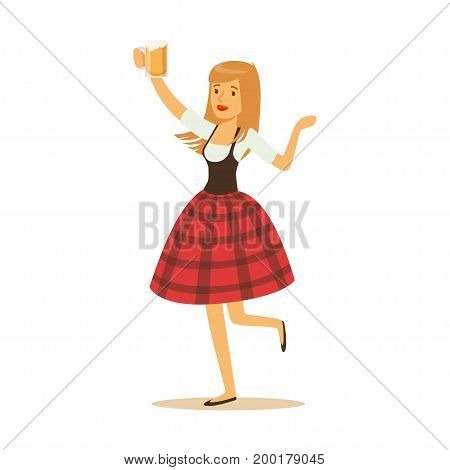 Pretty waitress in a red Bavarian traditional costume holding beer mug, Oktoberfest beer festival vector Illustration on a white background