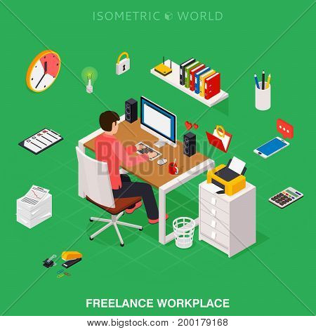 Professional freelancer working on desktop computer at desk. Flat 3d isometric technology concept.