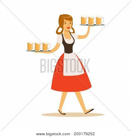Pretty waitress in Bavarian traditional costume holding beer mugs on a trays, Oktoberfest beer festival vector Illustration on a white background