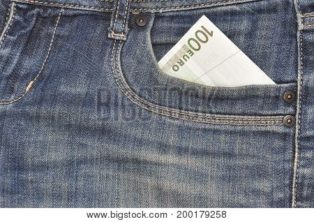Euro banknotes in jeans pocket background. Money in your pocket