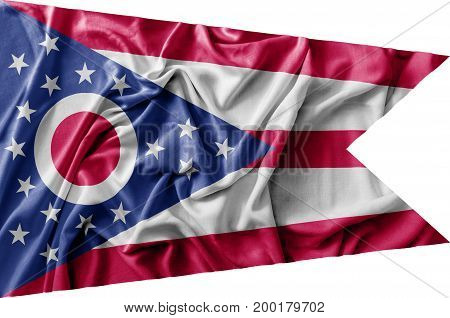 Ruffled waving United States Ohio flag national