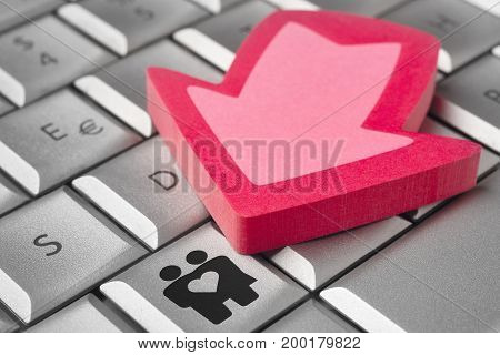 Couple icon on a computer keyboard. Date online. Relationship background