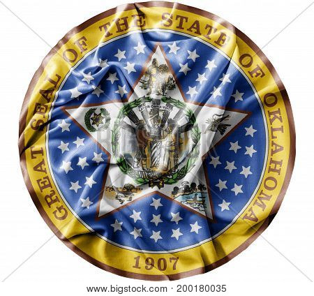 Ruffled waving United States Oklahoma Seal flag