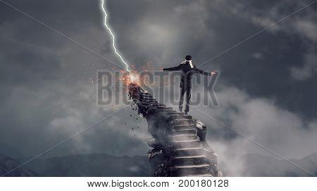 Making risky steps. Mixed media . Mixed media